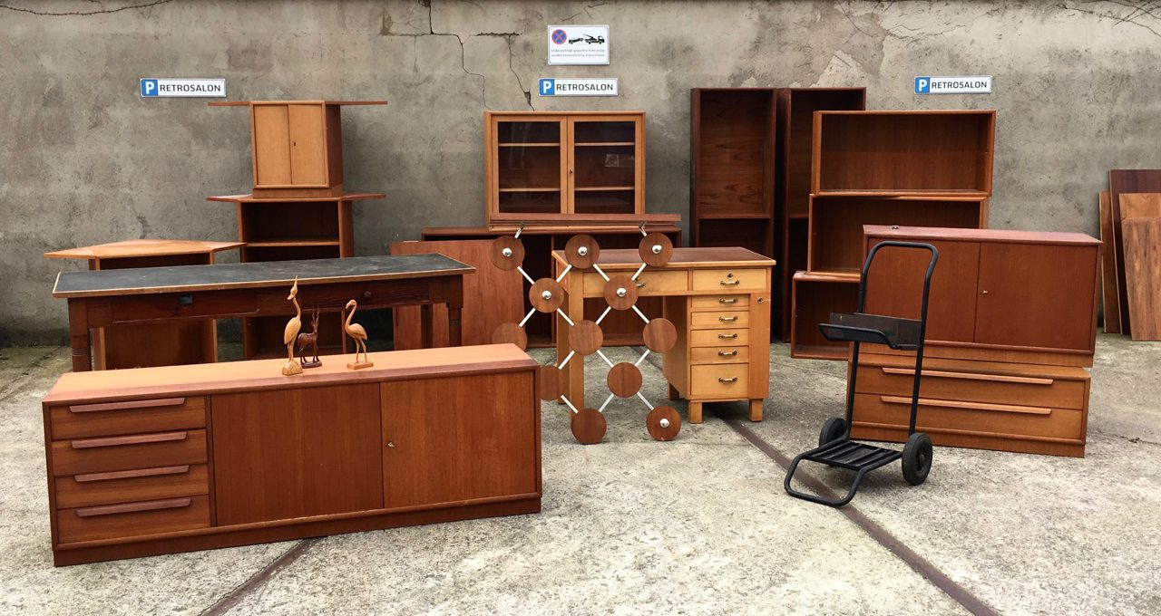wareneingang teak m bel langer tisch kraniche retro salon cologne. Black Bedroom Furniture Sets. Home Design Ideas