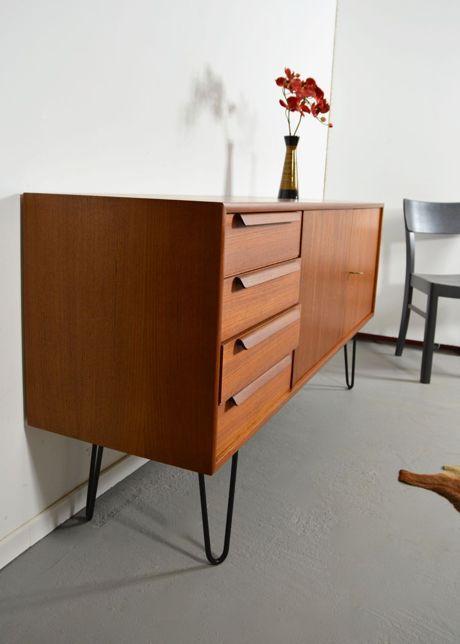 sold 60s teak sideboard mit hairpin legs retro salon cologne. Black Bedroom Furniture Sets. Home Design Ideas